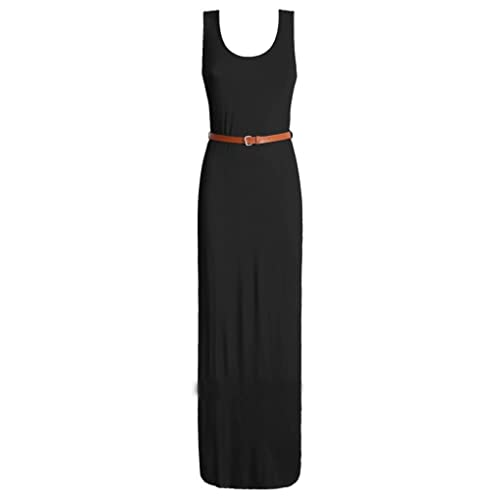 d600bae9f0a Up Town Women Ladies Long Jersey Racer Back Belted Sleeveless Maxi Dress  Size 8-14