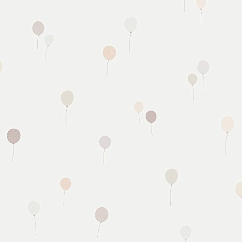 Casadeco 18941118 Papel pintado infantil con globos aerostáticos en color hueso y gris
