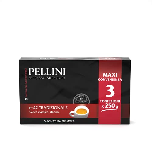 Pellini Caffè - Café Molido para máquina - Moka Gusto Tradizionale No. 42 - 3 x 250 gr (750 gr)
