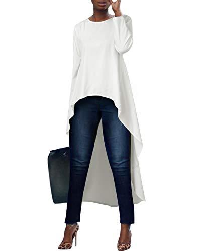 kenoce Damska bluzka z długim rękawem na co dzień luźna dekolt falbanka długa bluzka nieregularna z wysokim niskim brzegiem sukienka maxi pulower koszule