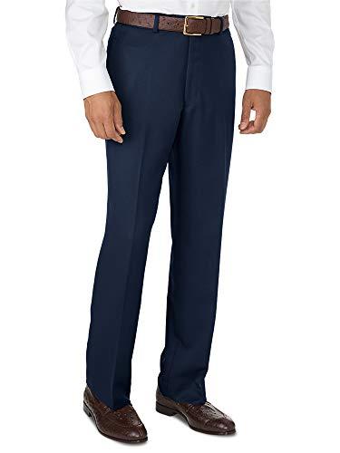 Paul Fredrick Men's Microfiber Tailored Fit Flat Front Pants Navy 34