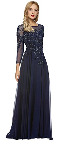 Meier Women's Starlit Beaded Long Sleeve Mother of The Bride Evening Gown Size 14 Navy (Apparel)