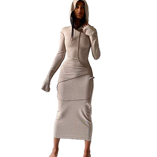 BYDIVA Long Sleeve Hoodie Patchwork Bodycon Long Dress Casual Outfits Khaki M