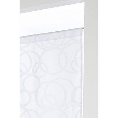 RideauDiscount Paire de Vitrages 60 x 120 cm à Passe Tringle Brodé Style Scandinave Motif Contemporain Ronds Blanc
