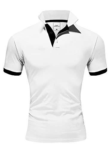 Amaci&Sons Herren Poloshirt Basic Kontrast Kragen Kurzarm Polohemd T-Shirt 5104 Weiß/Schwarz XL