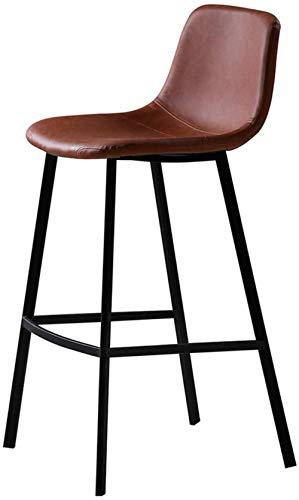NYDZ barkruk hoogstaande kruk moderne barkruk met bruin lederen zitting, keukeneiland teller barkruk