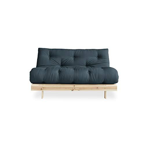 Karup Design Roots 2 Sitzer Futon Schlafsofa Im skandinavischen Stil Sofa Mit Schlaffunktion Im Natur Holz Mit Petroleum blau Matratze 140 x 200, Gestell: Nordische Kiefer FSC-Zertifiziert 140 x 200