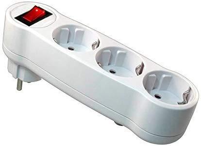 pequeño y compacto Adaptador plano con interruptor y 3 enchufes Schuko