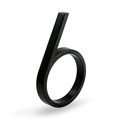 HASWARE Letrero de número de casa flotante de 5 pulgadas (12 cm) Números de puerta modernos Placa de señalización Números de dirección de casa de calle, Metal negro [Número 6]