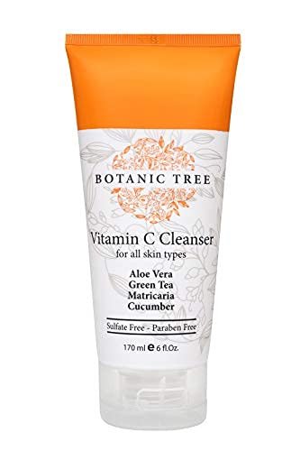 Botanic Tree Cleansing Face Wash with Vitamin C for All Skin Types to Reduce Acne Breakouts, Wrinkles and Double Cleanse with Glycolic Acid Face Wash, 6 fl. oz