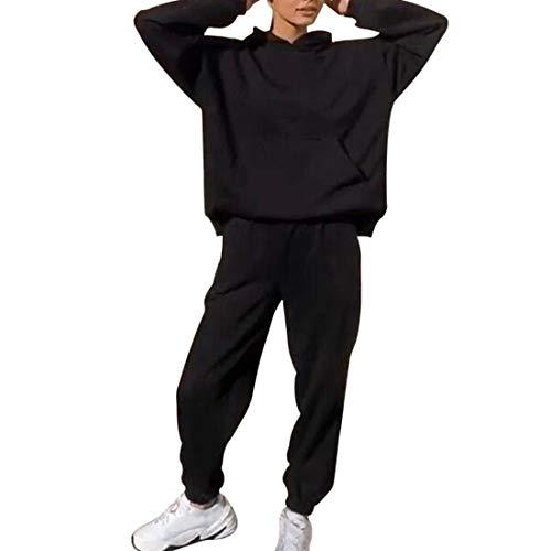 Shujin Conjunto de ropa deportiva para mujer, 2 piezas, sudadera con capucha y cordón B negro. S