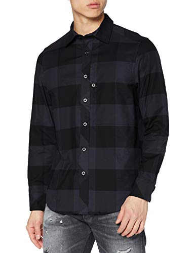 G-STAR RAW Mens Stalt Regular Shirt, Shadow Oliver Check C417-C023, M
