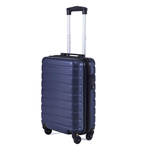 Toctoto Bagaglio a Mano Espandibile con Lucchetto TSA,(18' 38LT 52x33x20cm) Adatto Per Voli Low Cost Bagaglio Da Cabina Ryanair, Vueling, Wizz Air (18'(52cm-38L)-Blu)