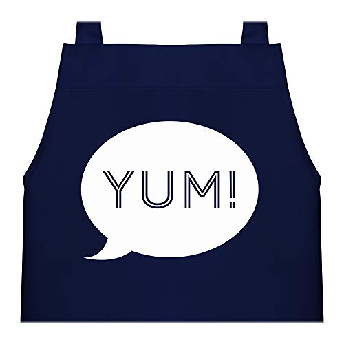 Shirtracer Kinderschürze & Malschürze - Yum Sprechblase - 60 cm x 50 cm (H x B) - Navy Blau - schürze kinder jungen - X978 - Kochschürze & Schürze für Kinder