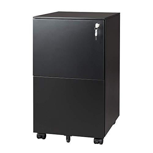 DEVAISE Metall Rollcontainer Büro-Rollcontainer Aktenschrank mit 2 Schubladen für A4, Mobil, Abschließbar, 39 cm x 48 cm x 67,5 cm, Schwarz