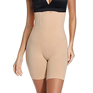 Tummy Control Shapewear Shorts Women High Waist Body Shaper Thigh Slimmer Slip Short Panty (Beige#Firm Control, M)