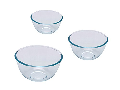Pyrex – 8023509 – 3 Pieces; Glass Mixing Bowls / Salad Bowl – 0.5 L; 1 L; 2 L – Borosilicate Glass – Heavy Duty – Made in France