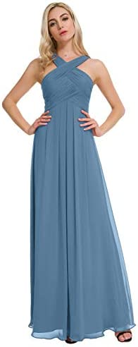 Alicepub Crisscross Neck Bridesmaid Dress Chiffon Long Formal Dresses for Women Party Evening product image