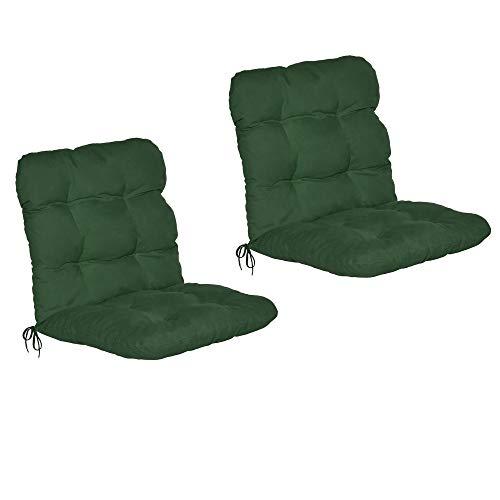 Beautissu Set di 2 Cuscini per sedie da Giardino Flair NL 100x50x8cm - Comoda e soffice Imbottitura - Ideale Anche per spiaggine - Verde Scuro