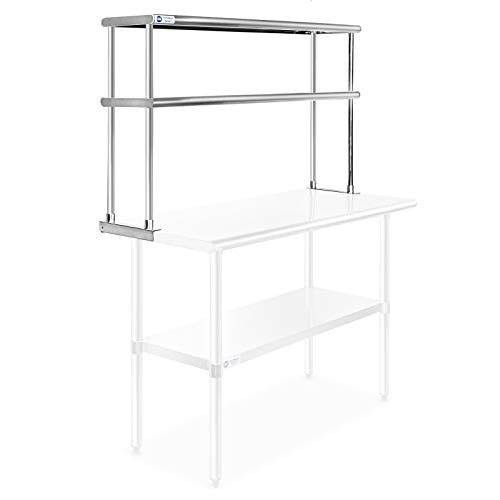 Gridmann NSF Stainless Steel Commercial Kitchen Prep & Work Table 2 Tier Double Overshelf - 48 in. x 12 in.