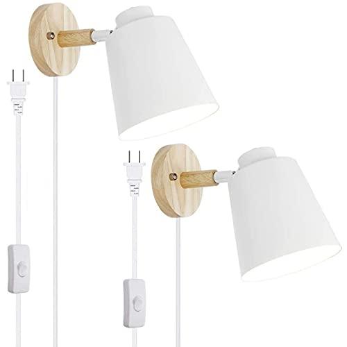 ASCELINA Plug-in-Wandleuchte 2 Stücke, nordisch-weiße Wandleuchte mit Plug-in-Kabel, drehbarer Wandleuchte mit Ein- / Ausschalter für Schlafzimmer, Wohnzimmer, Küche (2 Stücke, weiß)