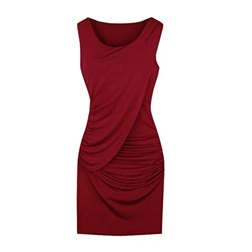 iLOOSKR Womens Party Dress Plus Size Elegant Summer Fashion Sleeveless Solid Color Dress Red