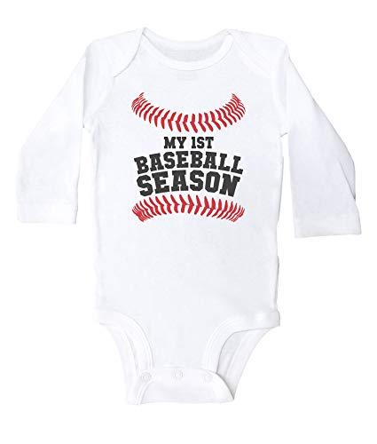 Mono de béisbol Promini My First Baseball Season Divertido Body de béisbol Blanco blanco 9 mes
