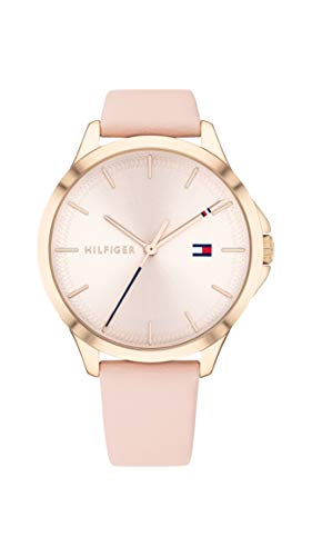 Tommy Hilfiger Women's Stainless Steel Quartz Watch with Leather Calfskin Strap, Pink, 17 (Model: 1782090)