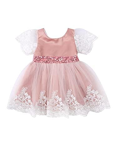 Carolilly 2021 0-5Y Princesa Bebé Niña Niña Vestido Flor Encaje Bordado Malla Manga Corta Lentejuelas Tul Tutú Princesa Vestido de Fiesta