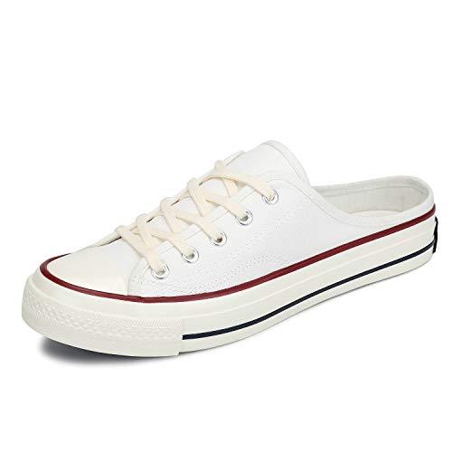Mishansha Damen Canvas Sneaker Slip On Freizeit Segeltuchschuhe Mules Flach Leicht Slippers Clogs für Frauen (Weiß, 43 EU)