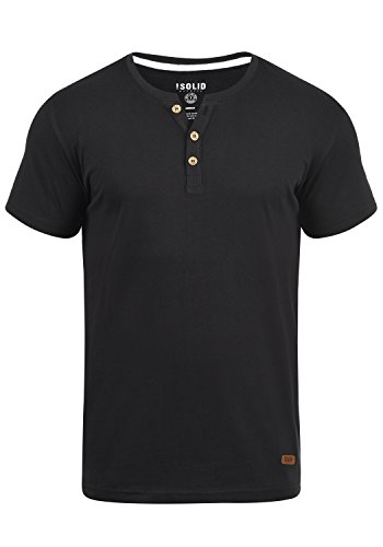 !Solid Volker Herren T-Shirt Kurzarm Shirt Mit Grandad-Ausschnitt, Größe:L, Farbe:Black (9000)