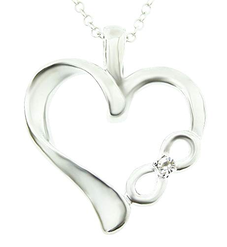 Ketting voor vrouwen - vrouw - hartje - hart - oneindigheid - lichtpunt - glitter - zilver - kerstmis - origineel cadeau-idee strass