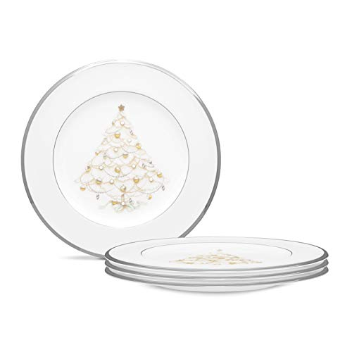 """Noritake Palace Christmas Platinum Holiday Accent Plate, Set of 4, 8 1/2"""" in White"""