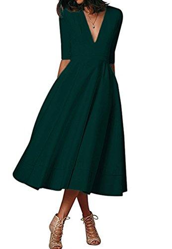 OMZIN Damen Maxi Kleid V Ausschnitt Abendkleid Halb Arm Cocktailkleid Grün XL