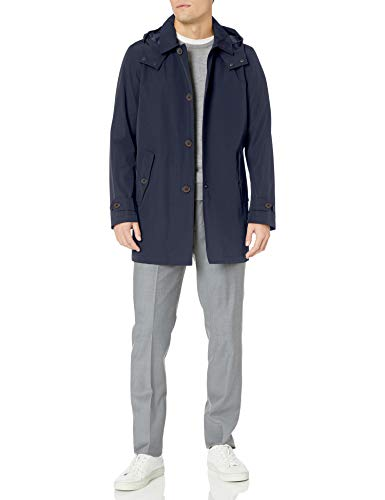 Tommy Hilfiger Men's Hooded Rain Trench Jacket, Navy, M