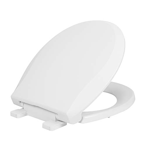 Round Toilet Seat Standard Toilet Seat in White with Slow Close Seat and Cover Easy to Install Durable Plastic Toilet Seat with Nonslip Seat Bumpers