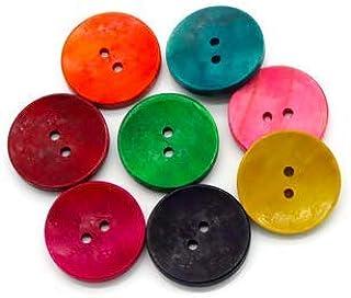 Handarbeit-Lieblingsladen Handarbeit-Lieblingsladen 50 Stück edle Holzknöpfe 30mm 2-Loch rund bunter Mix Knöpfe im Set Teddyknöpfe, Bastelknöpfe zum nähen, annähen dekorieren 8 Farben