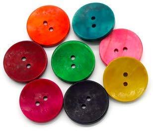 Handarbeit-Lieblingsladen 50 Stück edle Holzknöpfe 30mm 2-Loch rund bunter Mix Knöpfe im Set Teddyknöpfe, Bastelknöpfe zum nähen, annähen dekorieren 8 Farben