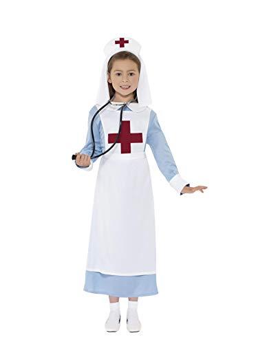 Smiffy'S 44026L Disfraz Enfermera Primera Guerra Mundial Con Vestido, Gorro Y Dela, Azul, L - Edad 10-12 Años