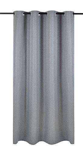 Kutti Vorhang Gardine Ösen Dimout grau Blickdicht Verdunkelung Breite 140 cm x Höhe 225 cm (1 Stück)