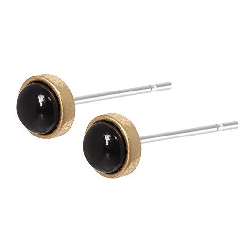 Sence Copenhagen Damen Ohrstecker Gold aus der Essential Earring-Serie mit einer Schwarzen Achat Perle Messing vergoldet - A502