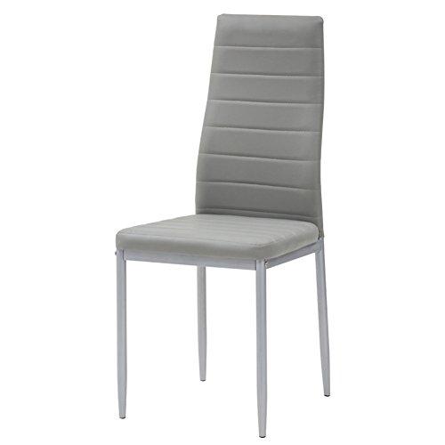 Cribel Queen Set Stuhl, Metall lackiert, Kunstleder, 4 Stück 47 x 40 centimeters Cenere