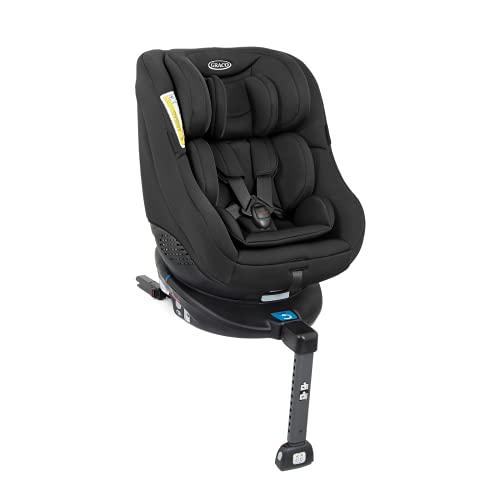 Graco Turn2Me Reboarder Kindersitz mit Isofix, 360 Grad drehbarer Autositz für Kinder von 0-4 Jahre, Gruppe 0+/1 (ab Geburt - 18 kg), 5-Punkt-Gurt und Liegeposition, schwarz