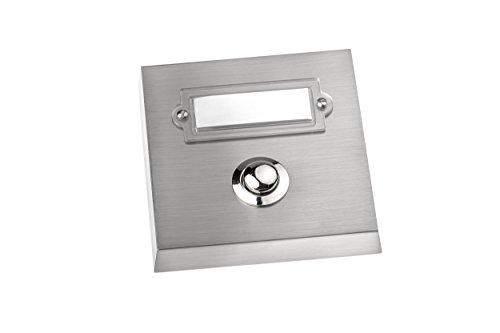 HUBER Klingel Klingeltaster 12046, 1-fach aufputz, rechteckig, Echtmetall, mit Namensschild aus Polycarbonat