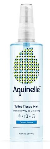 Aquinelle Toilet Tissue Mist, Eco-Friendly & Non-Clogging Alternative to Flushable Wipes Simply Spray On Any Folded Toilet Paper (8.25 oz Ocean Breeze)