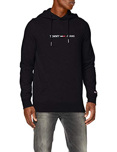 Tommy Jeans Herren TJM Straight Logo Hoodie Pullover, Schwarz (Black), S