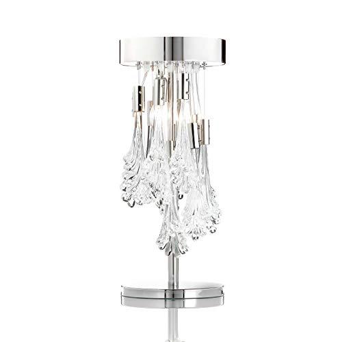 Nicole Murano Glas Nachttischleuchte Mittlere Tischleuchte in Nickel transparent | Handgefertigt in Italien | Tischlampe Modern Dimmbar | Lampe E14