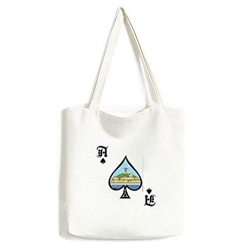 Mount Corcovado Feuerballon Brasilien Handtasche Craft Poker Spaten waschbare Tasche