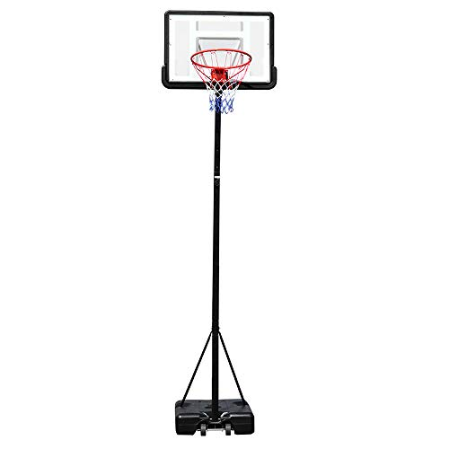NMFIN Portable Basketball Hoop, Teenager PVC Transparent Backboard with Adjustable-Height Pole Maximum Applicable 7 Ball for Children and Adult