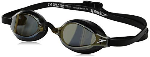 Speedo Speed Socket 2.0 Mirrored Swim Goggles, Curved, Anti-Glare, Anti-Fog with UV Protection